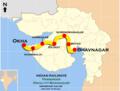 (Bhavnagar - Okha) Passenger (via Rajkot) route map.png