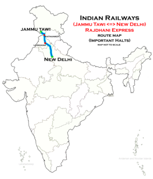 (New Delhi - Jammu Tawi) Rajdhani Express Route map