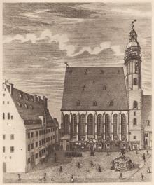 gravure: église St Thomas à droite et bâtiment de l'école à gauche