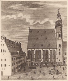 St. Thomas Church and School, Leipzig in 1723 (Source: Wikimedia)