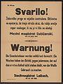 Überwachung der Eisenbahnlinien - Warnung - Laibach - Mehrsprachiges Plakat 1914.jpg
