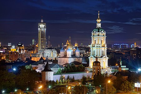 Night view of Novospassky Monastery in Moscow, Russia.