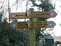 -2021-01-18 Hiking sign at the access to Weaver's Way footpath, Chapel Road, East Ruston, Norfolk.jpg