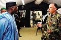 - Lieutenant Colonel Troy McGilvra, commander of MEDFLAG 08, with Malian Prime Minister Modibo Sidibe, Kati, July 18, 2008.jpg