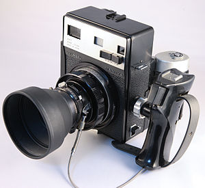 Mamiya Universal with lens, grip, and roll film back