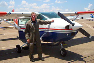 Tennessee Wing Civil Air Patrol - Charlie Smith, an ATA senior engineer and mission pilot for the Civil Air Patrol's Tennessee Wing, poses alongside the Cessna 182 that he flew in support of the Deep Water Horizon Mission from Mobile Alabama.