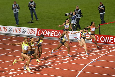 The finish of a women's 100 m race - Track and field