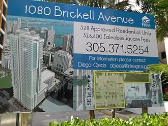 The Bond on Brickell - Sign showing older proposal at 1080 Brickell site