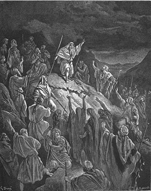 Mattathias - Mattahias appealing to Jewish refugees (illustration by Gustave Doré from the 1866 La Sainte Bible)