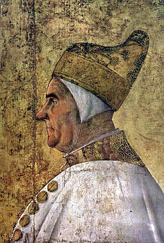 1480 Gentile Bellini, Portrait of Doge Giovanni Mocenigo Tempera on canvas, Museo Correr, Venice - Before restoration