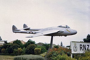 No. 14 Squadron RNZAF - 14 Squadron Vampire on gate duty at Ohakea