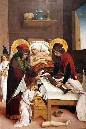 Cosmo e Damiano sostituiscono una gamba ulcerata con quella di un etiope morto di recent