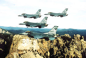 South Dakota Air National Guard - Image: 175th Fighter Squadron 4 F 16 Formation over Mount Rushmore