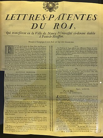 Letters patent - Letters patent transferring a predecessor of the University of Lorraine to Nancy in 1768