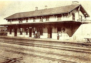 Berlin station (Connecticut) - The 1848-built station at an unknown date