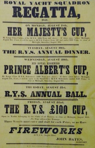 1851 America's Cup - Image: 1851 Royal Yacht Squadron Regatta promo