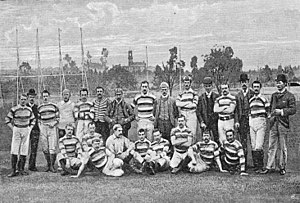 1888 British Lions tour to New Zealand and Australia - The 1888 British Isles team. Taken on the Scotch Oval, close to the Melbourne Cricket Ground and the East Melbourne Cricket Ground, on both of which the team played Australian Rules Football against local clubs.