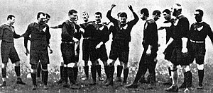 "The Original All Blacks - The 1905 Originals during the ""haka""."