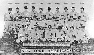 Ezra Midkiff - Midkiff, seated 2nd from right on middle row, in a team picture for the New York Yankees in 1913.