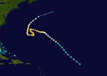 Mapa zobrazující cestu a intenzitu hurikánu září 1915