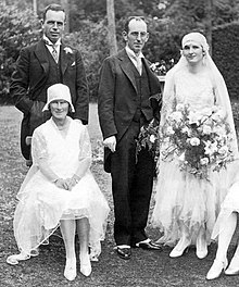 Wedding dress wikipedia the woman to the far right is wearing a typical wedding dress from 1929 until the late 1960s wedding dresses reflected the styles of the day junglespirit Image collections