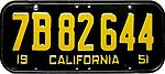 1951 California license plate 7B 82 644.jpg