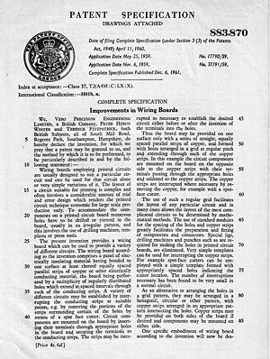 Veroboard - Veroboard Patent.