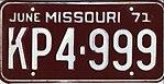 1971 Missouri license plate KP4-999.jpg