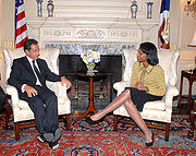 Sarkozy as Minister of the Interior with American Secretary of State Condoleezza Rice, after their bilateral meeting in Washington D.C., September 12, 2006