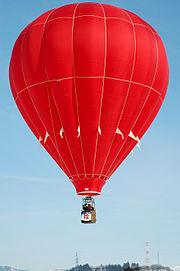 A hot air balloon in flight.