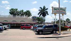 Versailles restaurant - Versailles Restaurant (foreground) and Bakery (background); the complex stretches the entire block on Calle Ocho (8th St.) between 35th and 36th Avenues.