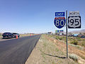2014-06-12 12 52 21 Reassurance signs along eastbound Interstate 80 and northbound U.S. Route 95 in Winnemucca, Nevada.JPG