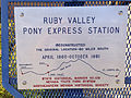 2014-09-21 14 59 28 Ruby Valley Pony Express Station historical marker at the Northeastern Nevada Museum in the main city park of Elko, Nevada.JPG