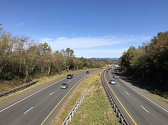 Fauquier County, Virginia - View west along I-66/SR 55 and north along US 17 in northwestern Fauquier County