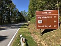 2019-10-11 13 30 30 Destination sign along northbound Virginia State Route 48 (Skyline Drive) just north of the Swift Run Gap interchange with U.S. Route 33 (Spotswood Trail) within Shenandoah National Park in Rockingham County, Virginia.jpg
