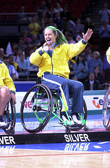 291000 - Wheelchair basketball Liesl Tesch silver medal - 3b - 2000 Sydney medal photo.jpg