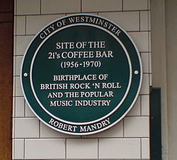 Photo of The 2i's Coffee Bar green plaque