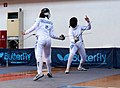 2nd Leonidas Pirgos Fencing Tournament. The fencer on the right performs a 4th parry.jpg