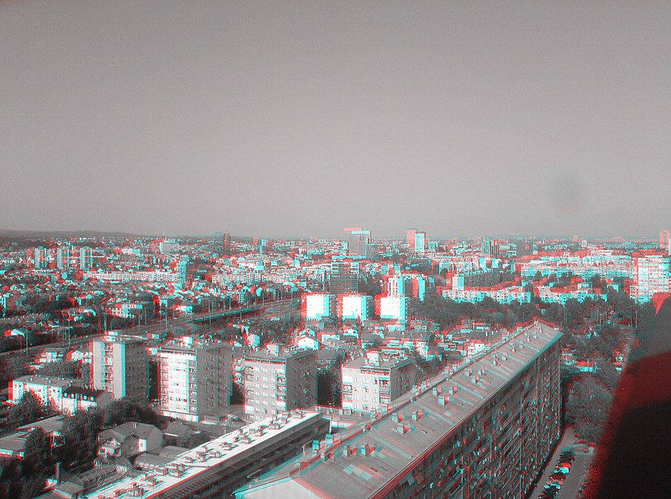 3-d anaglyph of Zagreb (2007)