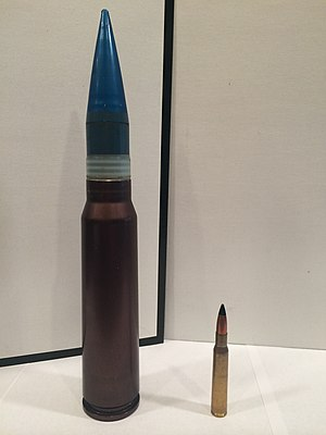GAU-8 Avenger - 30mm round next to a .30-06 Springfield for comparison