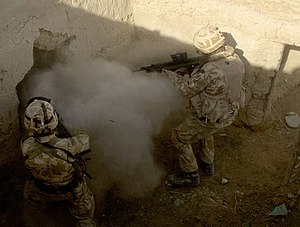 Operation Volcano - Mike Company of 42 Commando Royal Marines conducting room clearance during Operation Volcano.