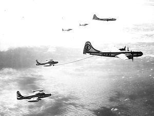 48th Fighter Wing - 43d Air Refueling Squadron KB-29M Superfortresses refueling 48th Fighter Wing F-84G Thunderjets over the Philippines, 1953.
