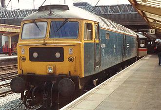 History of rail transport in Great Britain 1948–1994 - Diesel Class 47 loco No.47100 with the trademark Stratford TMD silver roof