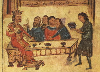 Khan Krum at the victory meal after the battle, Chronicle of Constantine Manasses, 12th century