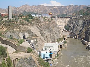 Renewable energy in China - Liujiaxia Dam hydroelectric power plant in Gansu province, China