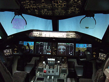 Flight deck of the Boeing 787 airliner Español...