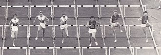 Athletics at the 1960 Summer Olympics – Women's 80 metres hurdles - 80 m final. Birkemeyer and Press are in the center, Quinton is on the left