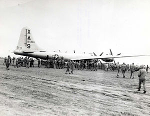 XXI Bomber Command - 42-65286 1st Bomb Squadron, 9th Bombardment Group, the first to land on Iwo Jima, 4 March 1945.