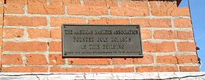 American Bankers Association - A plaque marks the building where the ABA was first organized in 1875, Saratoga Springs, New York.
