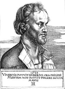 "Engraving of Melanchthon in 1526 by Albrecht Dürer captioned, ""Dürer was able to draw the living Philip's face, but the learned hand could not paint his spirit"" (translated from Latin) (Source: Wikimedia)"